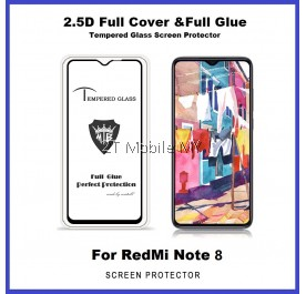 XiaoMi RedMi Note 8 / RedMi Note 8 Pro / RedMi Note 7 9D 2.5D Full Glue Cover Tempered Glass Screen Protector