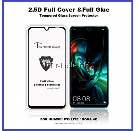 Huawei Nova 4e / P30 Lite 2.5D Full Glue Cover Tempered Glass Screen Protector