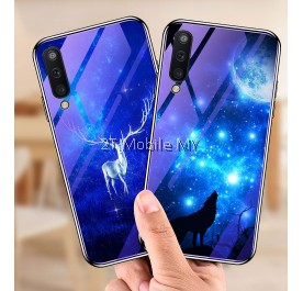 Samsung Galaxy Note 9 / S10 Plus S10+ Blue Ray Glass TPU Case Wolf Bumper Case