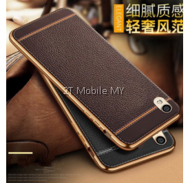 Oppo R9S/R9S Plus Leather Cover High Quality Electoplating Edge TPU Slim Fit Case Bumper Case