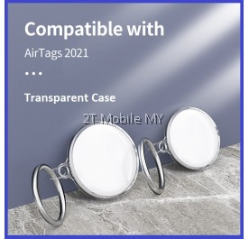 Apple AirTag Protective Case Sleeve Transparent 360 Full Protection TPU Soft Cover with Keychain