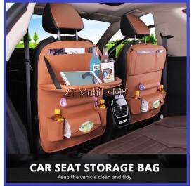 Car Organizer with Tray Leather Car Seat Back Storage Multiple Pocket Foldable