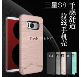 Samsung Galaxy S8 S8 Plus Kickstand Bumper Case Cardholder TPU Armor Card Slot