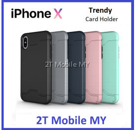 Apple IPhone X Bumper Case Cardholder TPU Armor Card Slot