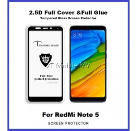 XiaoMi RedMi Note 5 Full Glue Coverage Colour Tempered Glass Screen Protector