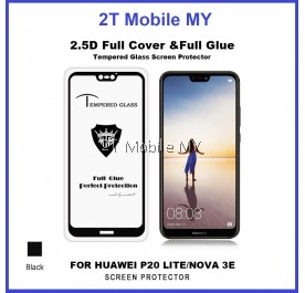 Huawei Nova 3e / P20 Lite Full Glue Coverage Colour Tempered Glass