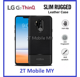 LG G7 ThinQ Leather Slim Protection Rugged Armor Bumper TPU Case Cover