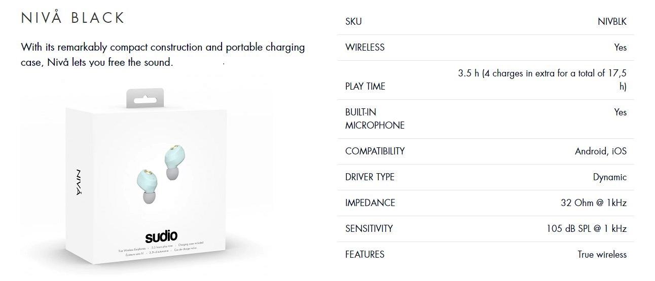 Sudio ETT / Niva True Wireless Earbuds Earphone with Charging Case