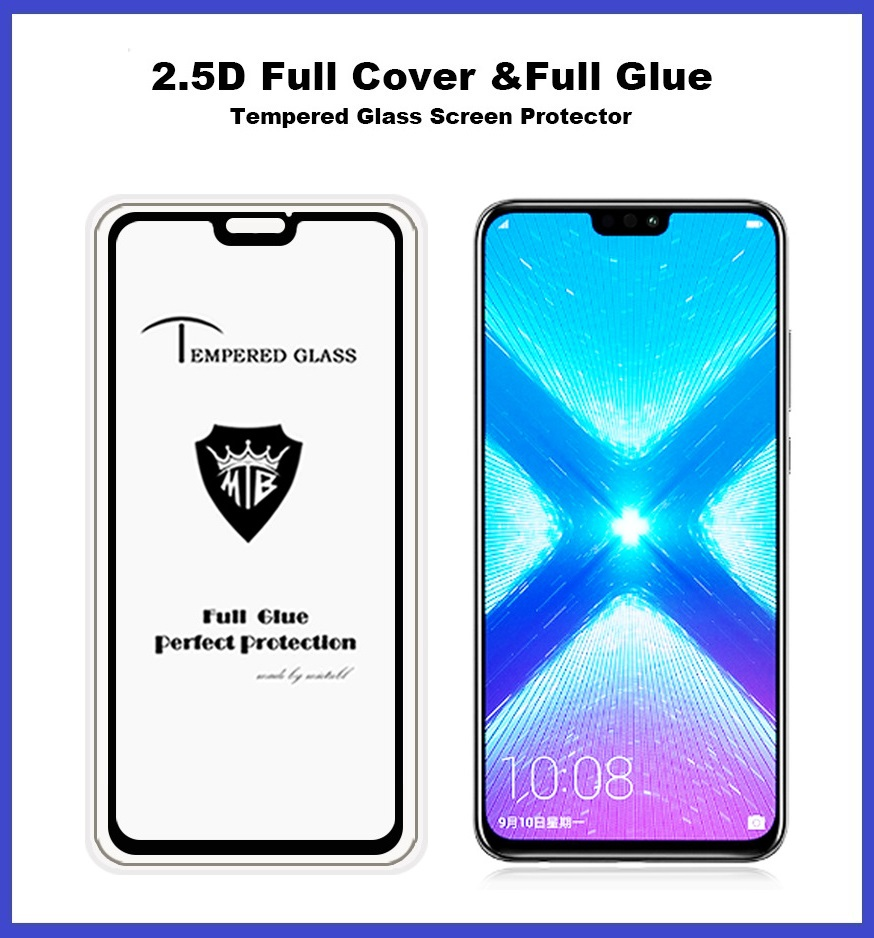 Huawei Honor 8X Full Glue Coverage Tempered Glass Screen Protector