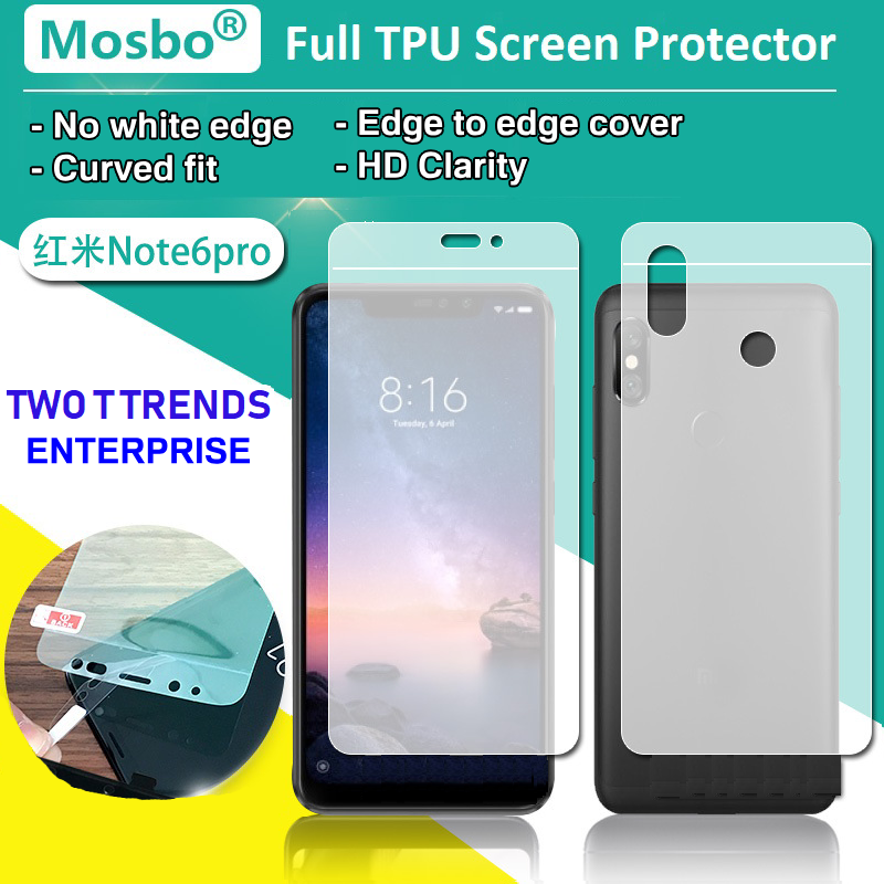 XiaoMi RedMi Note 6 Pro Front Back Full Coverage Screen Protector 3D Film