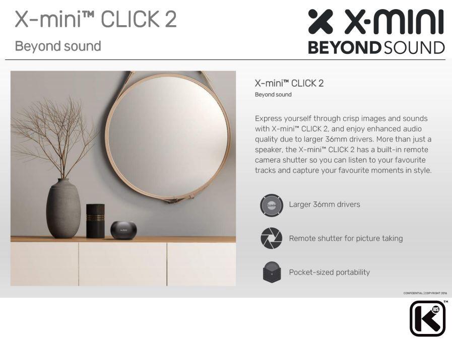 X-Mini CLICK 2 Bluetooth Speaker Capsule Portable Outdoor Built in Camera Shutter