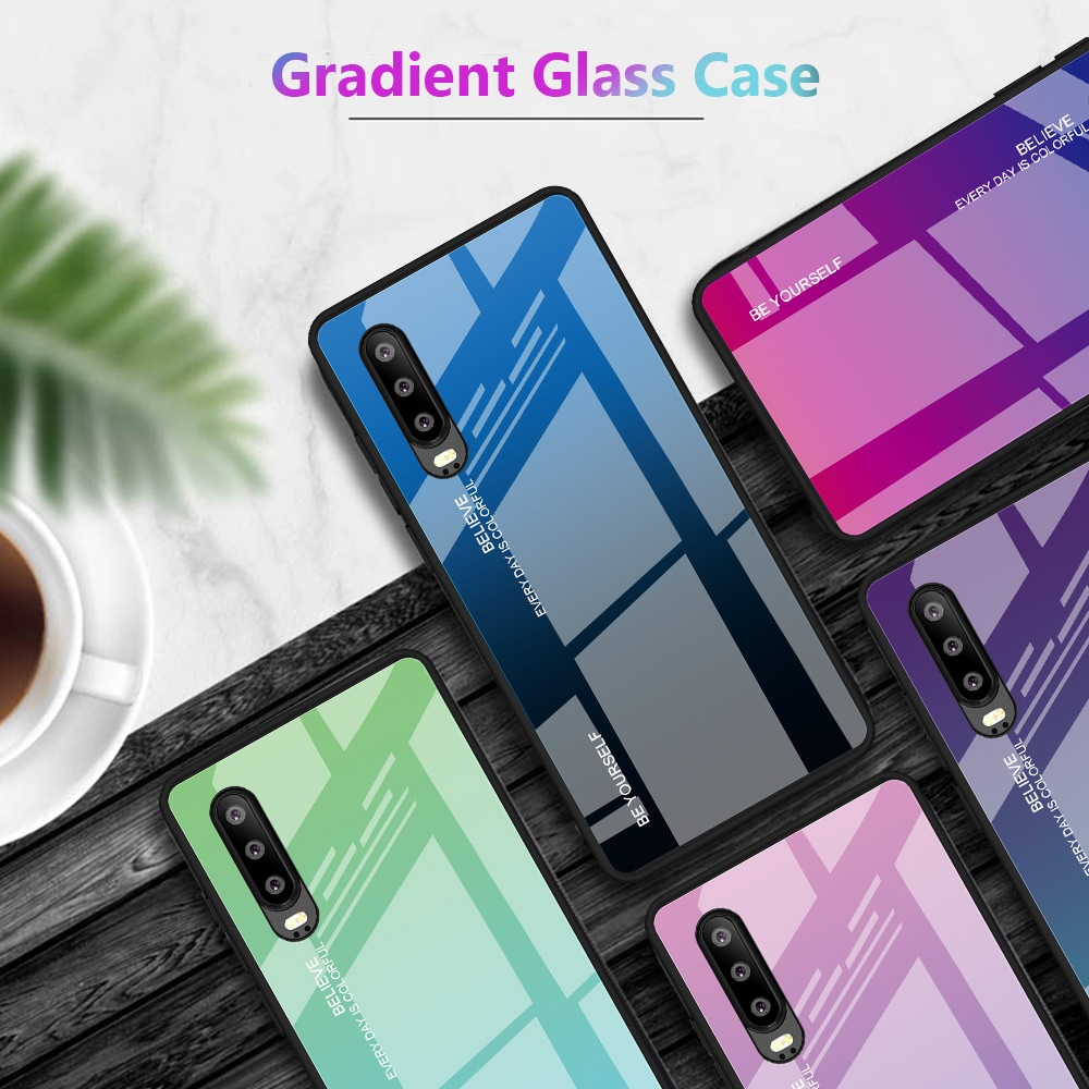 Huawei P30 Pro Aurora Gradient Glass Case Bumper Cover Trendy