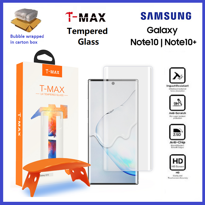 Samsung Galaxy Note 10 / Note 10 Plus / Note 10+ / Note 9 T-Max TMax Hybrid Glass UV Loca Glue 0.20mm Tempered Glass ORI