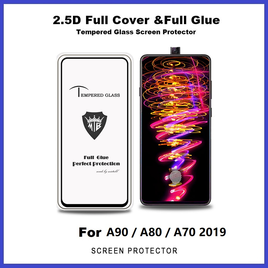 Samsung Galaxy A90 / A80 / A70 2019 2.5D Full Glue Cover Tempered Glass Screen Protector