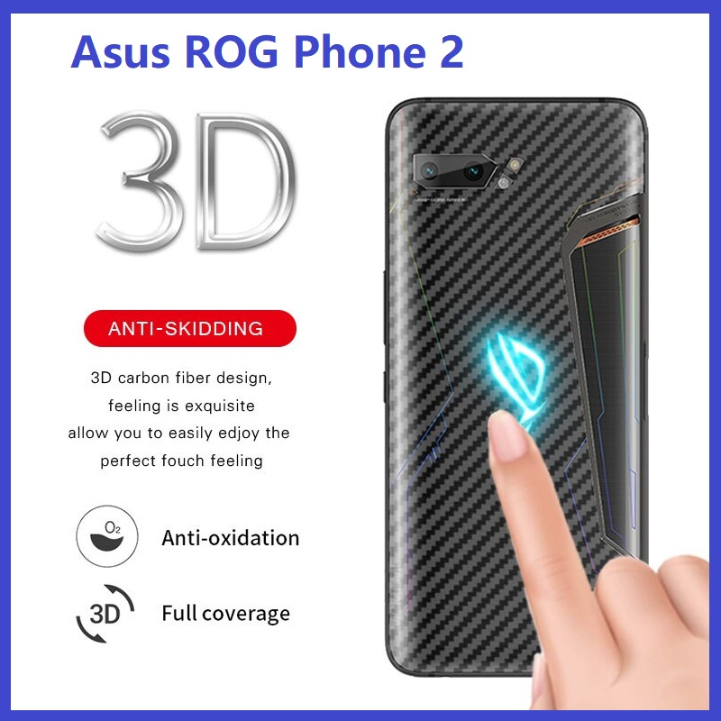 Asus ROG Phone 2 Back Carbon Fiber Protector Matte Anti-FIngerprint Sticker