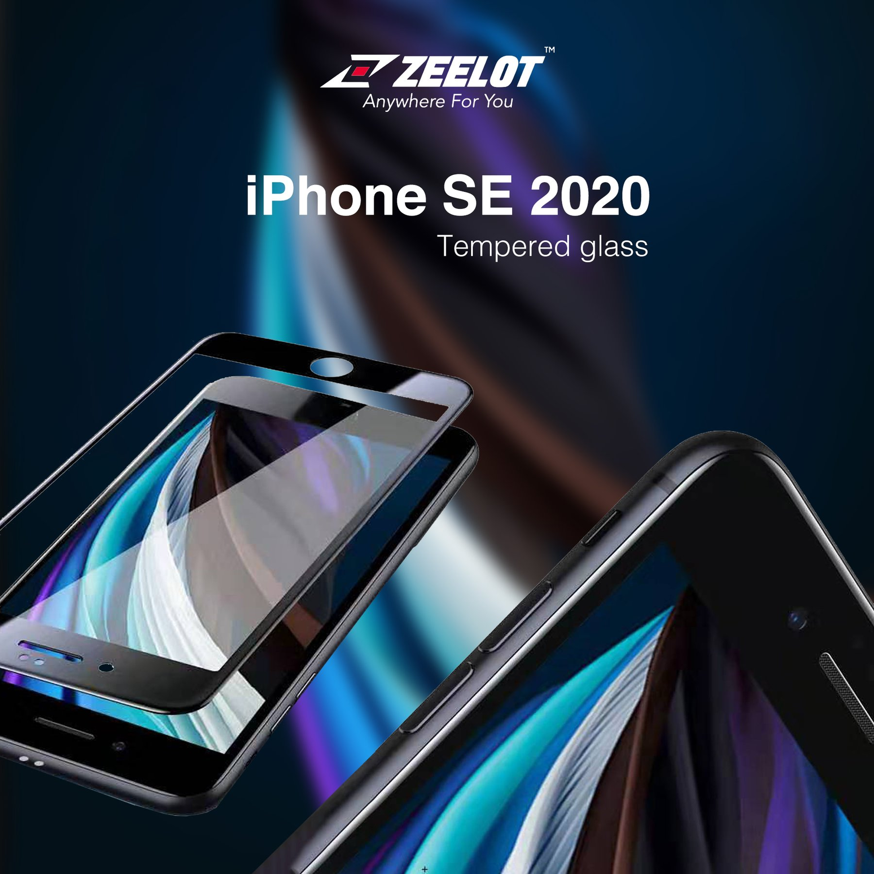 Apple iPhone SE 2020 Zeelot PureGlass 2nd Gen Full Cover Tempered Glass Screen Protector