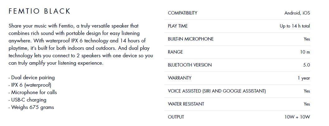 Sudio FemTio Waterproof IPX 6 Portable Wireless Speaker Dual Device Pair (10W+10W) ORI
