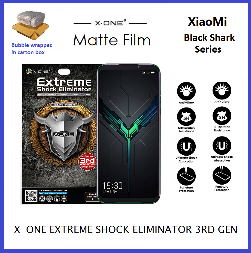 XiaoMi Black Shark 3 / Black Shark 3 Pro / Black Shark 2 X-One Matte Anti-Fingerprint Extreme Shock Screen Protector ORI