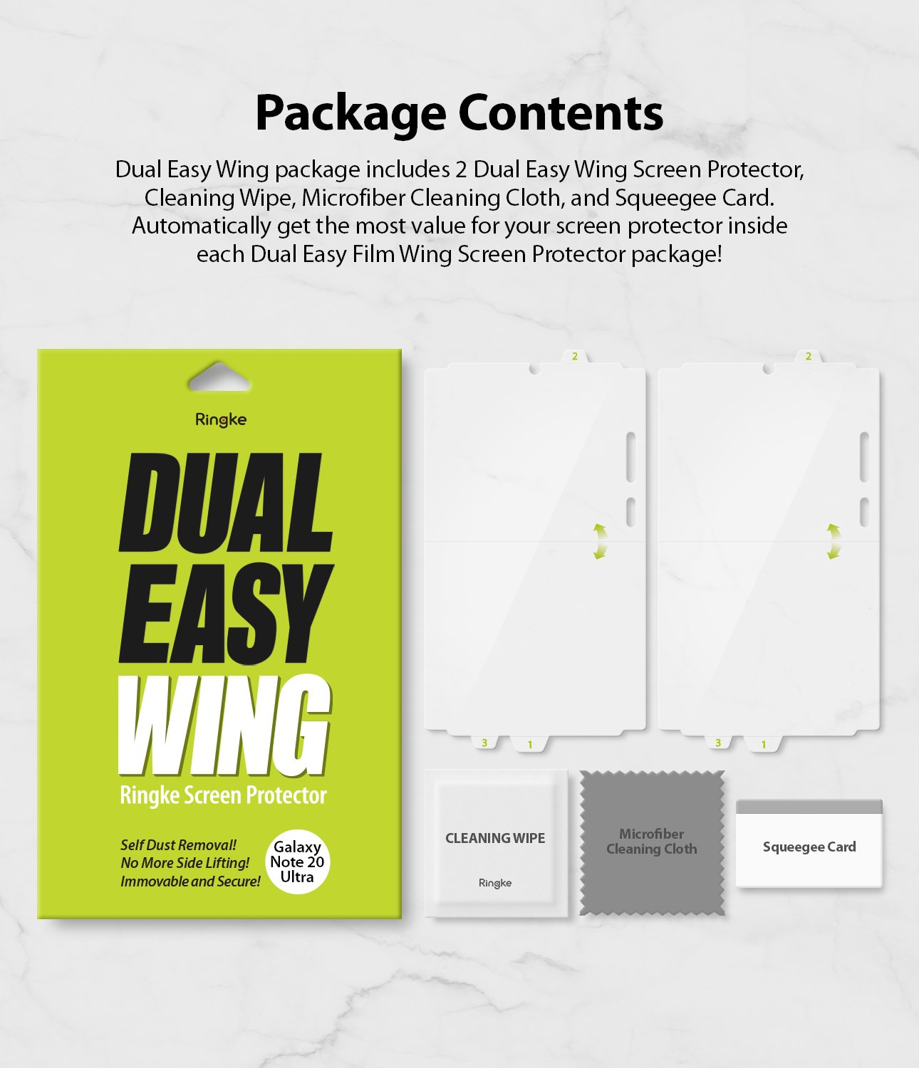Samsung Galaxy Note 20 Ultra Ringke Dual Easy Wing Screen Protector (2 Pack)