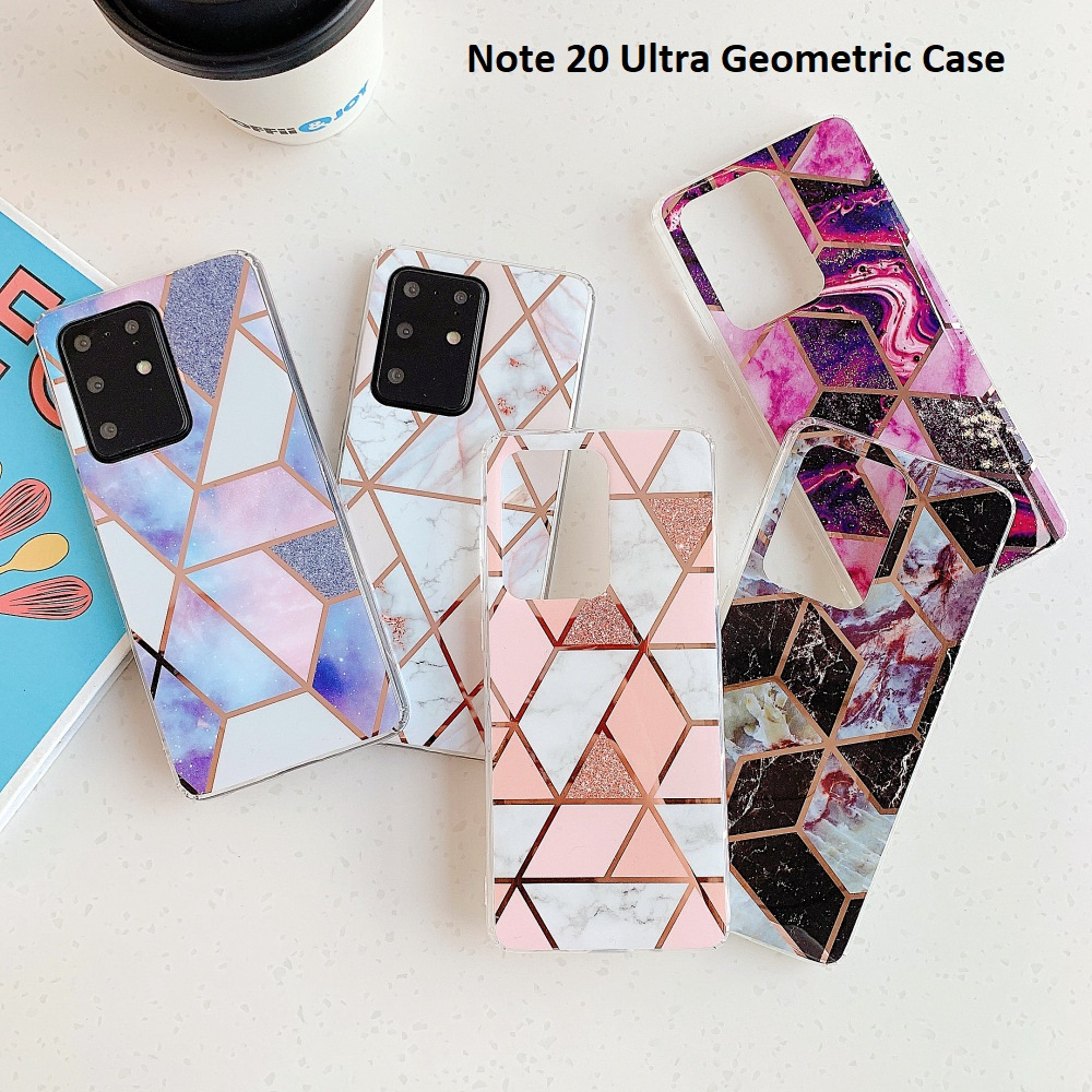 Samsung Galaxy Note 20 Ultra Geometric Marble Plating Glossy Soft Case Bumper Cover