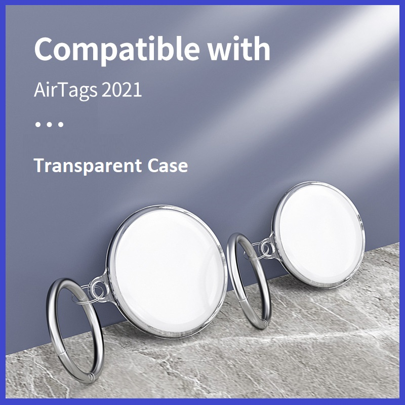 Apple AirTag Protective Case Sleeve Transparent TPU Soft Cover with Keychain