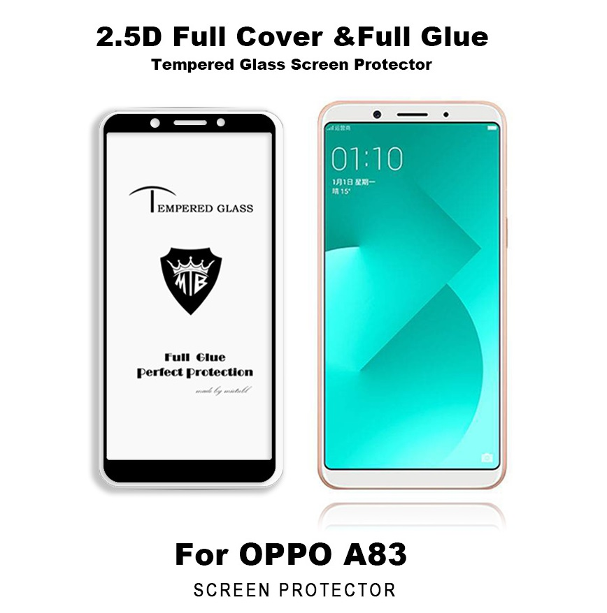 Oppo A83 Full Glue Tempered Glass Screen Protector Full Coverage