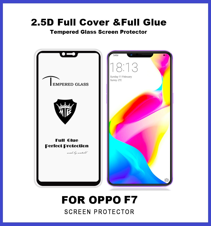 Oppo F7 Full Glue Coverage Colour Tempered Glass Screen Protector