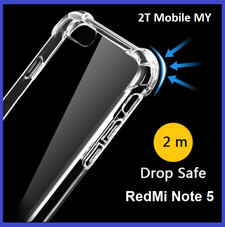 XiaoMi RedMi Note 5 Transparent TPU Slim Shockproof Bumper A...